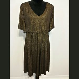 Torrid Gold & Black Evening Shimmery Dress Sz 2